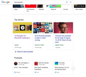 """Hakutulos Googlen hausta haulla """"Best Podcast"""" näyttää myös podcasteja, joita voit heti kuunnellla"""
