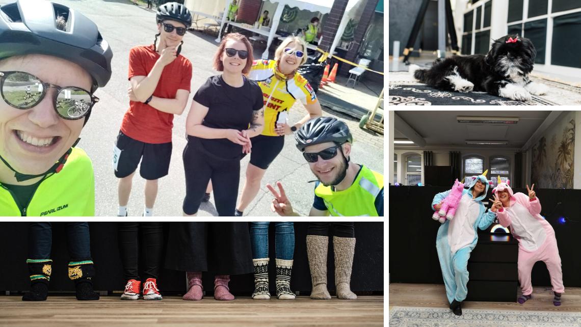 Kuvakollaasi unfairin villasukkajengistä, Mila-koirasta, yksisarvisviikon teemapukeutumisesta ja Pirkan pyöräilyyn 2020 osallistuneesta tiimistä..