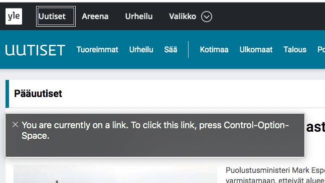 Kuvakaappaus Yle Uutisten sivustosta Voice Over aktivoituna.