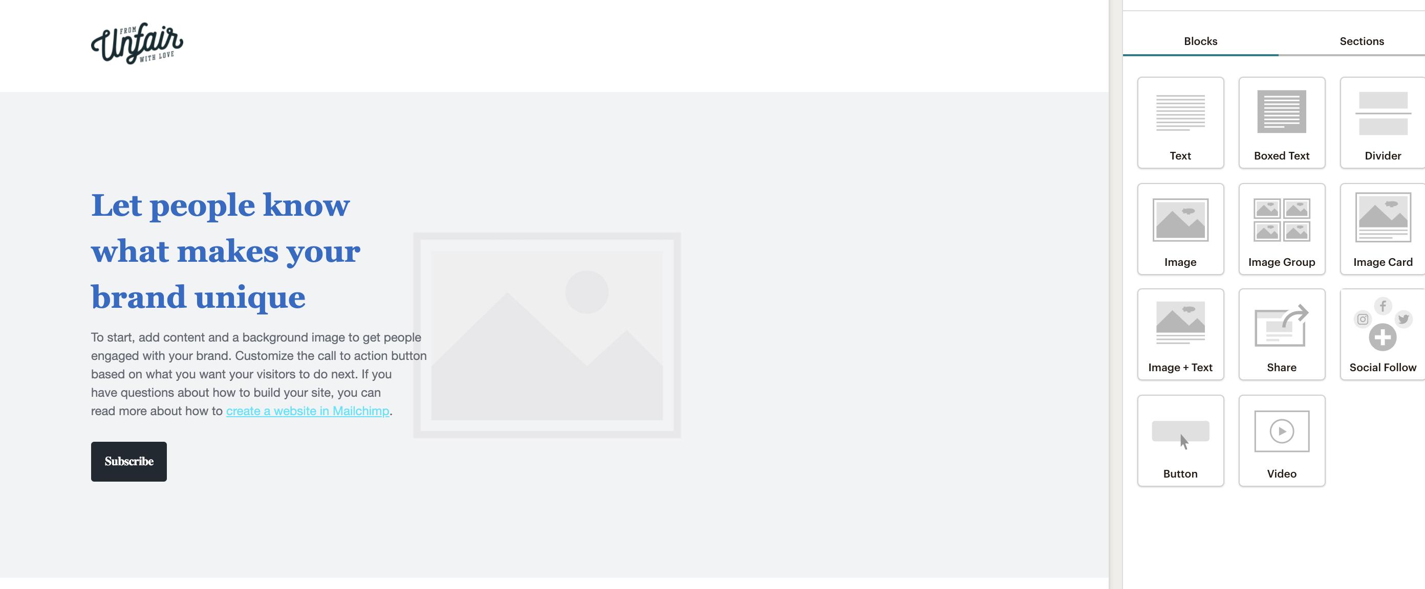 Laskeutumissivun rakentaminen MailChimpissä on sujuvaa